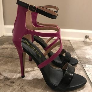 Paper Fox Black and Magenta Strappy High Heels